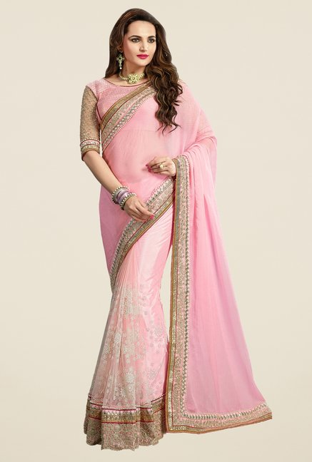 Triveni Striking Pink Chiffon Net Saree