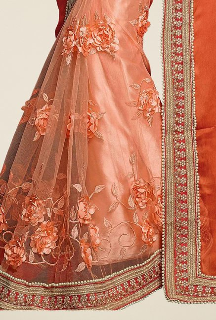 Triveni Glorious Peach Bamber Chiffon Saree