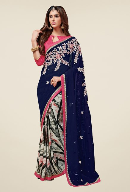 Triveni Admirable Off White & Navy Faux Georgette Saree