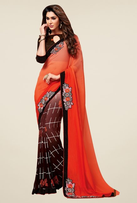 Triveni Divine Brown & Orange Faux Georgette Saree