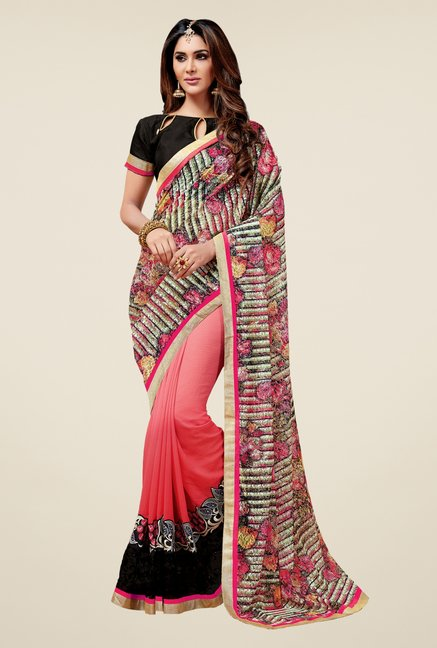 Triveni Astounding Peach Georgette Net Saree