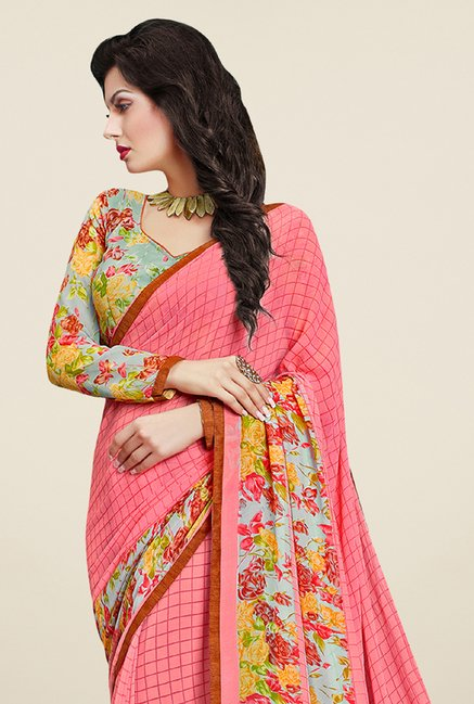 Triveni Pleasing Peach Faux Georgette Saree