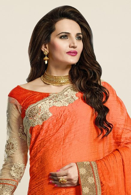 Triveni Appreciable Beige & Orange Net Saree