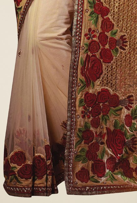 Triveni Awesome Beige Net Saree