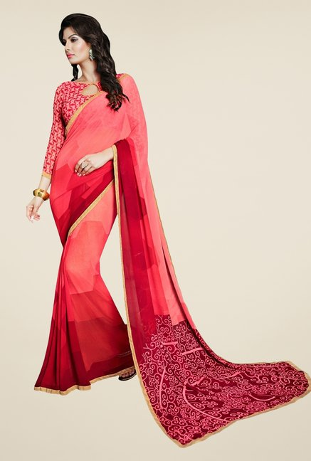 Triveni Stylish Peach Faux Georgette Saree
