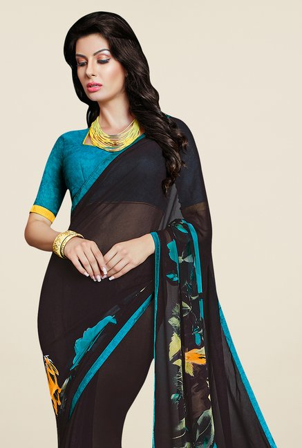 Triveni Delightful Black Faux Georgette Saree