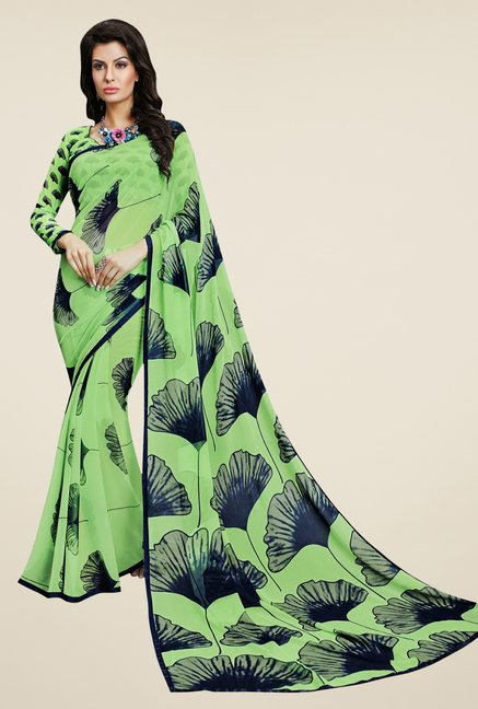 Triveni Fanciful Green Faux Georgette Saree