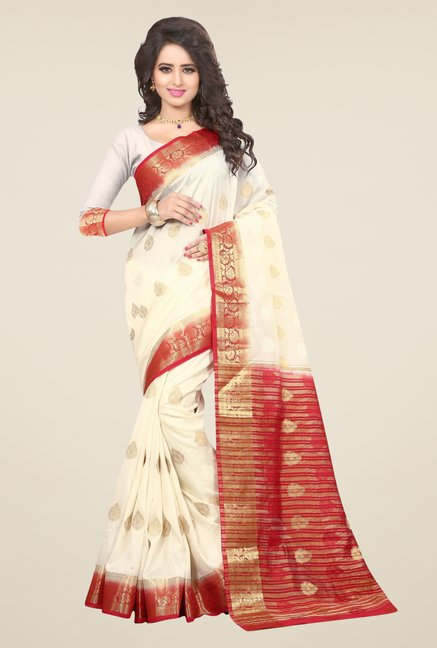 Triveni Beautiful Cream Nylon Art Silk Saree