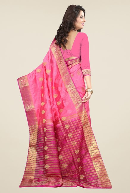 Triveni Smart Pink Nylon Art Silk Saree