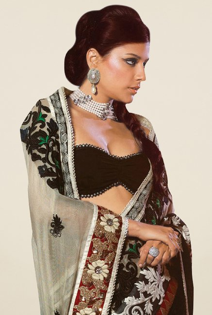 Triveni Spectacular Grey Net Saree