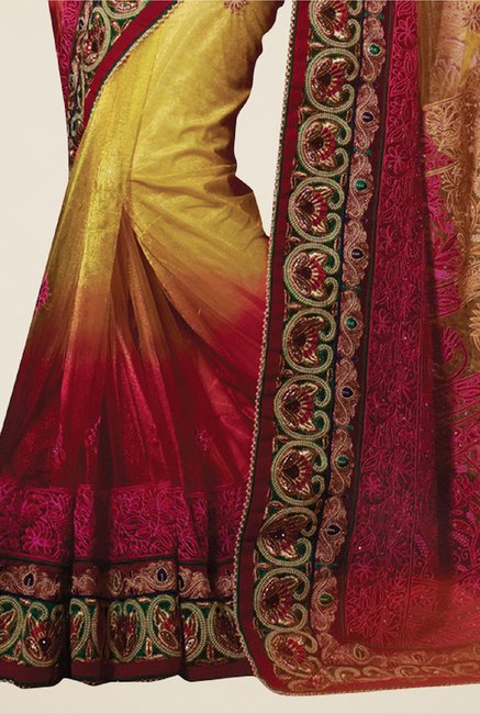 Triveni Exquisite Yellow & Maroon Net Saree