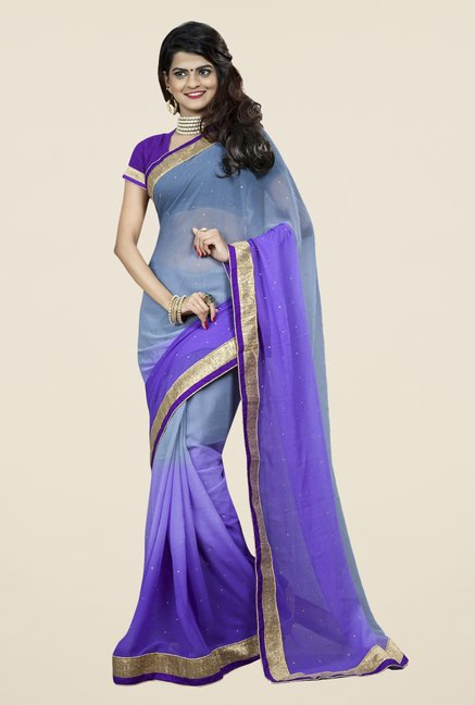 Triveni Beautiful Purple Chiffon Saree