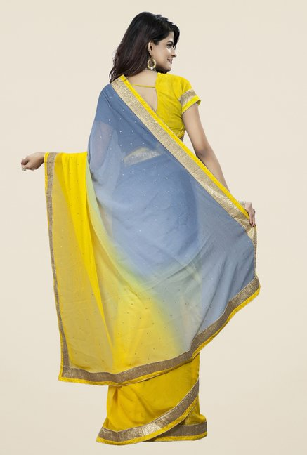 Triveni Trendy Yellow & Grey Chiffon Saree