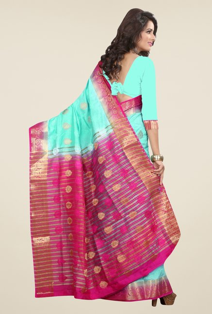 Triveni Trendy Blue Nylon Art Silk Saree