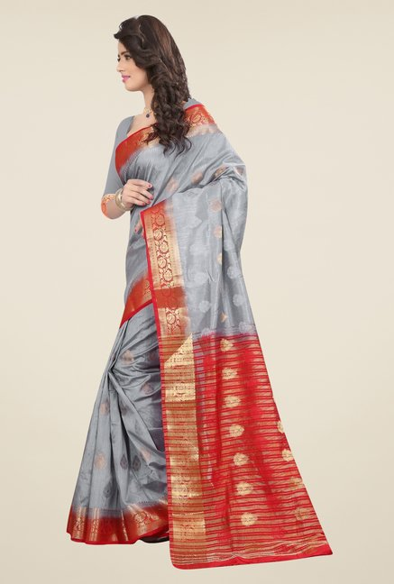 Triveni Pretty Grey Nylon Art Silk Saree