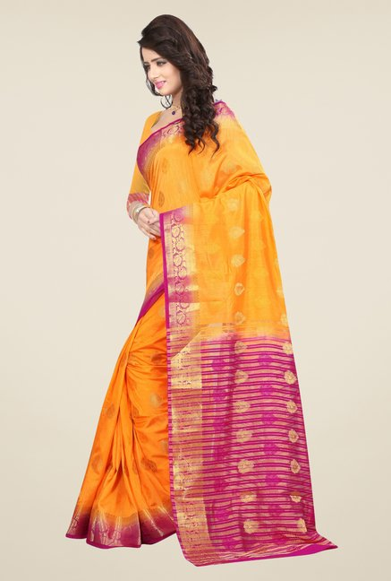Triveni Appealing Yellow Nylon Art Silk Saree