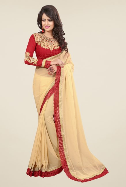 Triveni Beautiful Beige Faux Georgette Saree