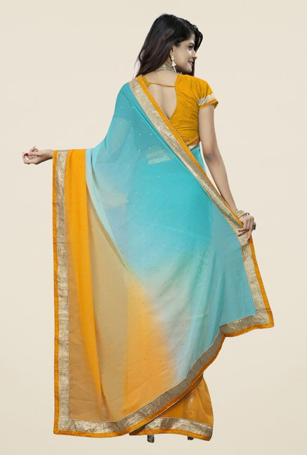 Triveni Appealing Yellow & Blue Chiffon Saree