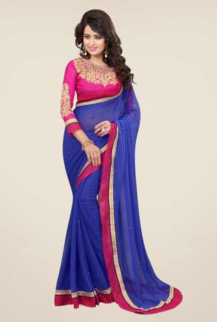 Triveni Smart Blue Faux Georgette Saree
