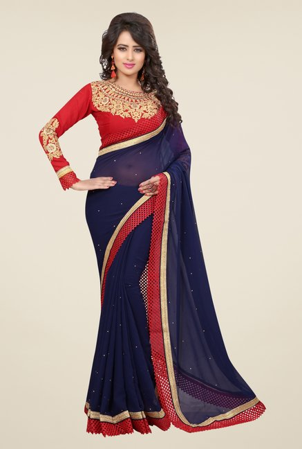 Triveni Charming Navy Faux Georgette Saree