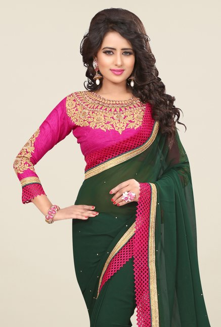 Triveni Appealing Green Faux Georgette Saree