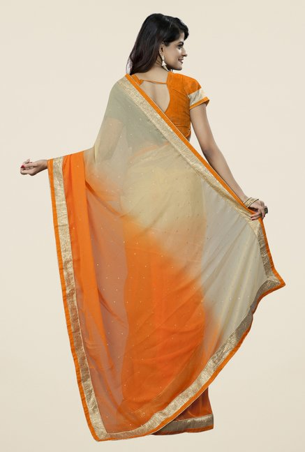 Triveni Fashionable Orange & Beige Chiffon Saree