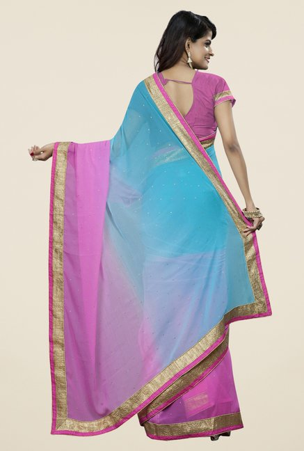 Triveni Fanciful Blue & Purple Chiffon Saree