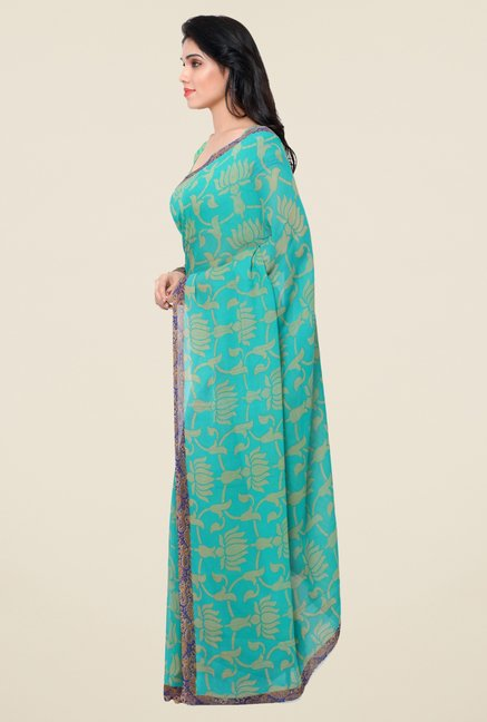 Triveni Fanciful Teal Faux Georgette Saree