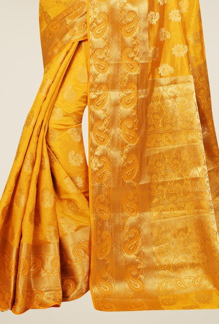 Triveni Beautiful Mustard Tussar Silk Saree