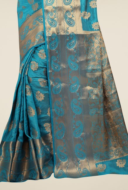 Triveni Pleasing Teal Tussar Silk Saree