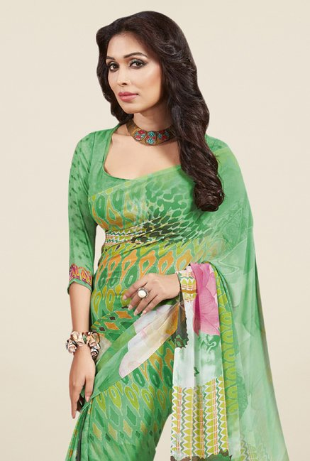 Triveni Trendy Green Faux Georgette Saree