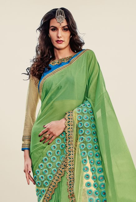 Triveni Glorious Green Embroidered Chiffon Net Saree