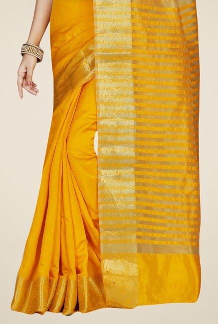Triveni Amiable Yellow Tussar Silk Saree