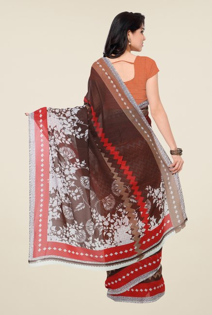 Triveni Beautiful Orange & Brown Faux Georgette Saree