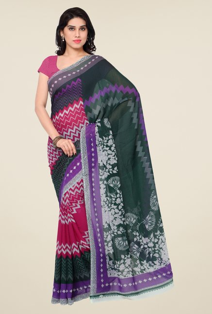 Triveni Smart Magenta & Green Faux Georgette Saree