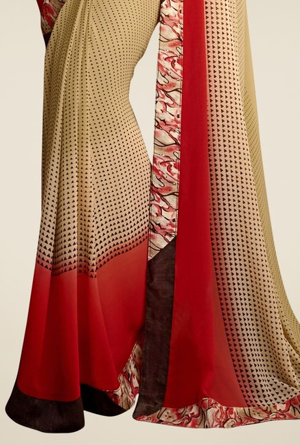 Triveni Striking Beige Printed Faux Georgette Saree