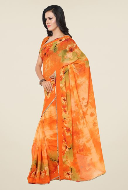 Triveni Amusing Orange Printed Faux Georgette Saree