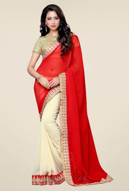 Triveni Elegant Cream & Red Faux Georgette Saree