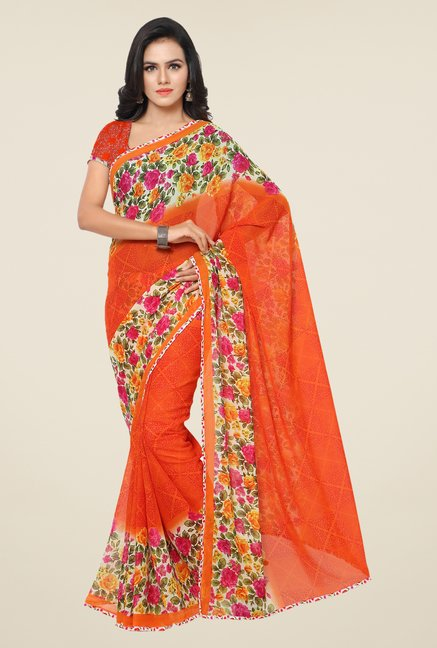 Triveni Stylish Orange Floral Faux Georgette Saree