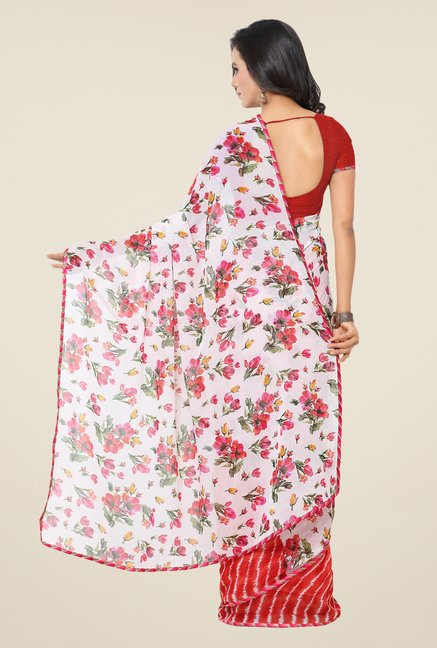 Triveni Attractive Red & White Printed Faux Georgette Saree