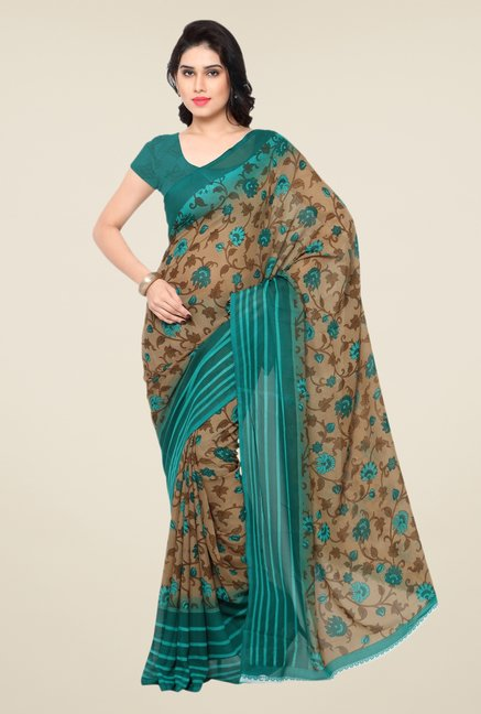 Triveni Fashionable Beige & Green Faux Georgette Saree