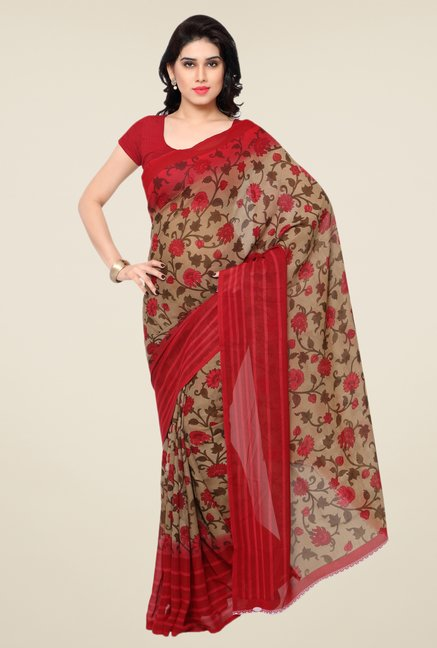 Triveni Delightful Beige & Red Faux Georgette Saree