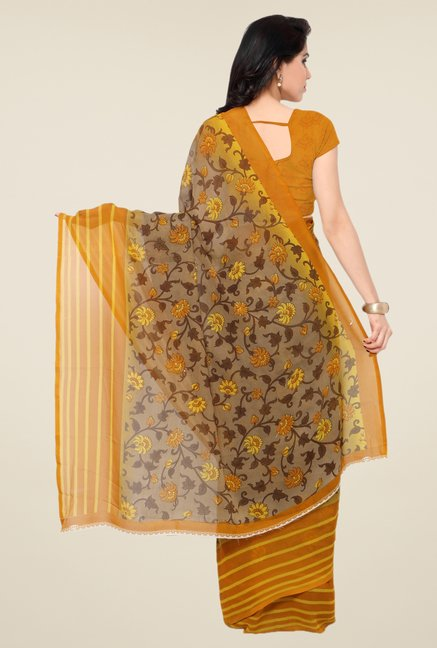 Triveni Fanciful Beige & Mustard Faux Georgette Saree
