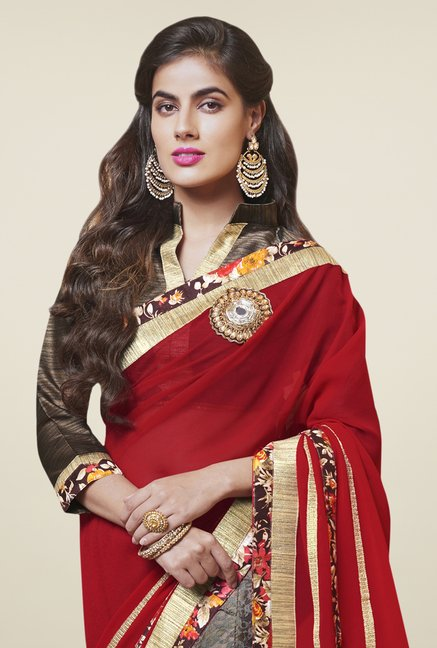 Triveni Beautiful Brown & Red Georgette Net Saree