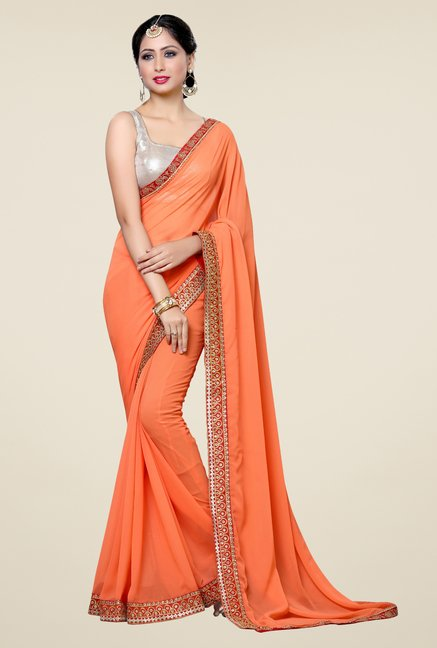 Triveni Majestic Orange Faux Georgette Saree