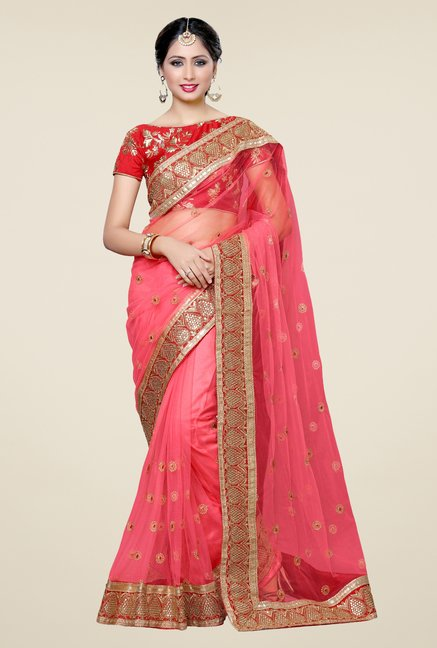 Triveni Entrancing Peach Net Art Silk Saree