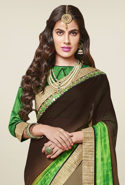 Triveni Charming Beige & Brown Chiffon Georgette Saree