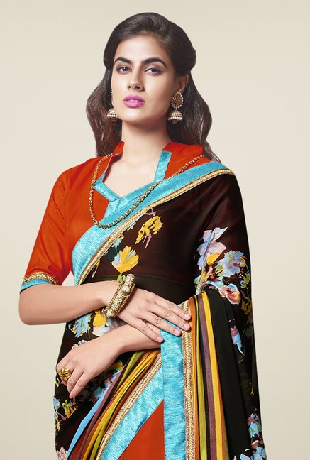 Triveni Appealing Orange & Black Crape Georgette Saree