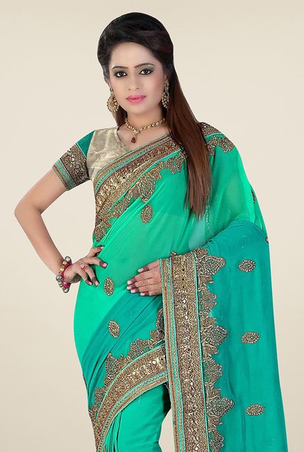 Triveni Stunning Green Faux Georgette Saree