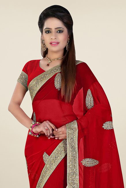 Triveni Magnificent Red Faux Georgette Saree